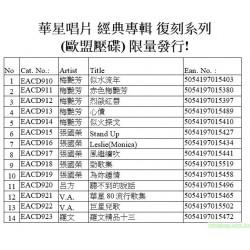 華星唱片 經典專輯 復刻系列  (歐盟壓碟) 限量發行!